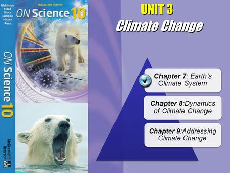 UNIT 3 Chapter 7: Earth's Climate System Chapter 8:Dynamics of Climate Change Chapter 9:Addressing Climate Change Climate Change.