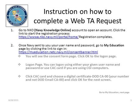 Instruction on how to complete a Web TA Request