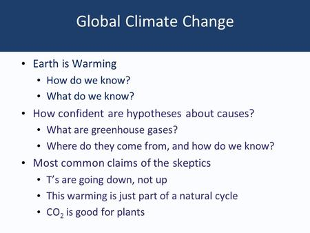 Global Climate Change Earth is Warming How do we know? What do we know? How confident are hypotheses about causes? What are greenhouse gases? Where do.