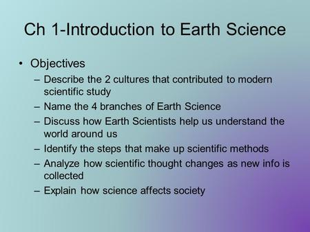Ch 1-Introduction to Earth Science