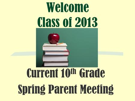 Welcome Class of 2013 Current 10 th Grade Spring Parent Meeting.