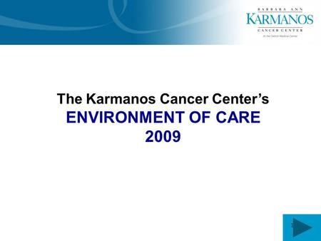 1 The Karmanos Cancer Center's ENVIRONMENT OF CARE 2009.