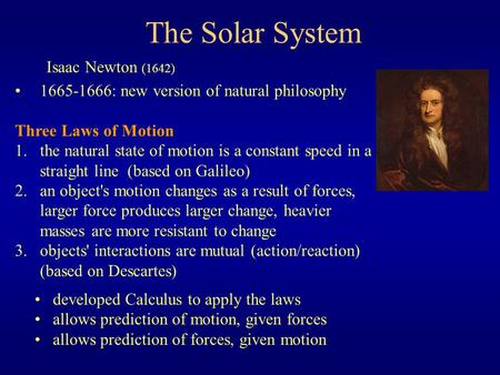 The Solar System Isaac Newton (1642)