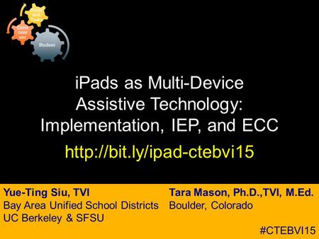 IPads as Multi-Device Assistive Technology: Implementation, IEP, and ECC  Yue-Ting Siu, TVI Bay Area Unified School Districts.