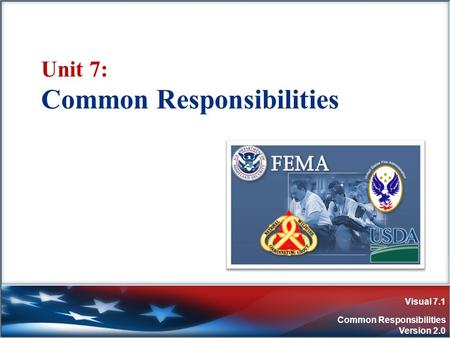 Visual 7.1 Common Responsibilities Version 2.0 Unit 7: Common Responsibilities.