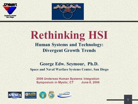 1 Rethinking HSI Human Systems and Technology: Divergent Growth Trends George Edw. Seymour, Ph.D. Space and Naval Warfare Systems Center, San Diego 2006.