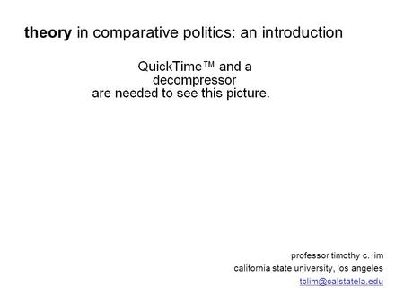 Professor timothy c. lim california state university, los angeles theory in comparative politics: an introduction.
