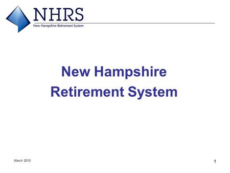 March 2010 1 New Hampshire Retirement System. March 2010 2 Overview of Presentation  Structure and Governance  Plan Funding  Legislation  Important.