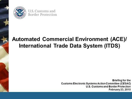 Automated Commercial Environment (ACE)/ International Trade Data System (ITDS) Briefing for the Customs Electronic Systems Action Committee (CESAC) U.S.