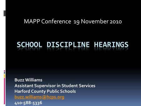 School Discipline Hearings