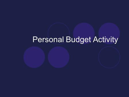 Personal Budget Activity. Personal Budget Reminder If HOURLY RATE is given: HOURLY RATE * 40 HOUR WORK WEEK = WEEKLY SALARY WEEKLY SALARY * 4 WEEKS IN.
