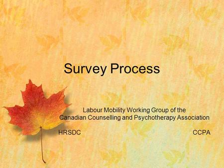 Labour Mobility Working Group of the Canadian Counselling and Psychotherapy Association HRSDCCCPA Survey Process.