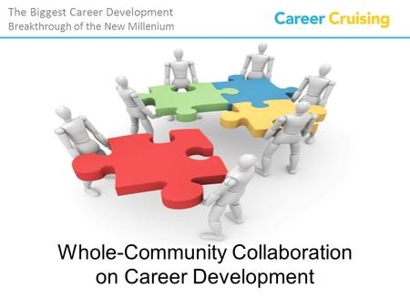 The Biggest Career Development Breakthrough of the New Millenium Whole-Community Collaboration on Career Development.