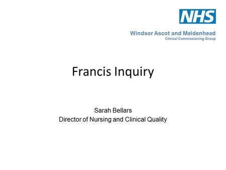 Sarah Bellars Director of Nursing and Clinical Quality