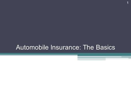 1 Automobile Insurance: The Basics. Objectives Identify important types of motor vehicle insurance coverage. Explain factors that affect the cost of motor.