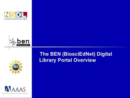 The BEN (BiosciEdNet) Digital Library Portal Overview.