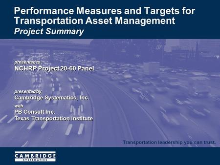 Transportation leadership you can trust. presented to NCHRP Project 20-60 Panel presented by Cambridge Systematics, Inc. with PB Consult Inc. Texas Transportation.
