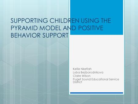 Guiding the Behavior of Young Children
