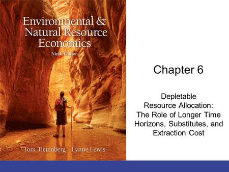 Chapter 6 Depletable Resource Allocation: The Role of Longer Time Horizons, Substitutes, and Extraction Cost.