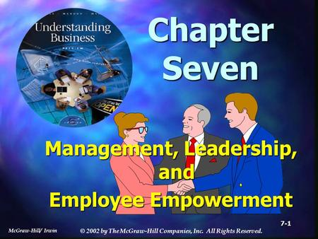 McGraw-Hill/ Irwin © 2002 by The McGraw-Hill Companies, Inc. All Rights Reserved. 7-1 Chapter Seven Management, Leadership, and Employee Empowerment.