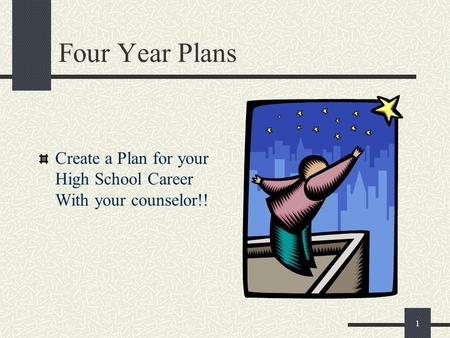 1 Four Year Plans Create a Plan for your High School Career With your counselor!!