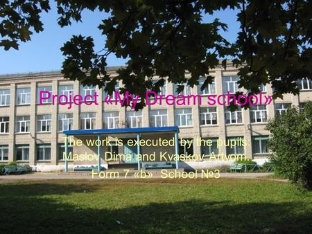 Project «My Dream school» The work is executed by the pupils: Maslov Dima and Kvaskov Artyom. Form 7 «b» School №3.