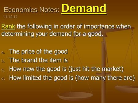 Economics Notes: Demand