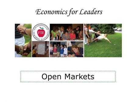 Economics for Leaders Open Markets. Economics for Leaders How much should we do? Work Play Study Sleep.