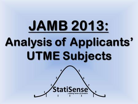 JAMB 2013: Analysis of Applicants' UTME Subjects.