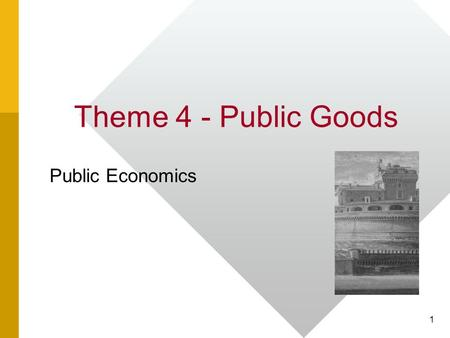 Theme 4 - Public Goods Public Economics 1. MAIN THEORY – Paul Samuelson 2.