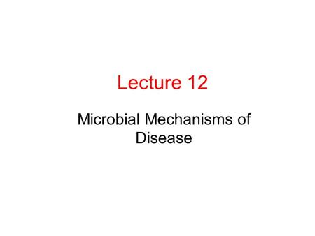 Lecture 12 Microbial Mechanisms of Disease. Normal Flora of Human Body Normal flora: population of microorganisms routinely found growing on the body.