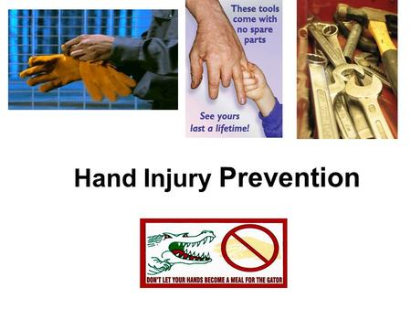 Hand Injury Prevention. 2 Presentation Elements  Hand Hazards / Potential Injuries  Hand Hazard Controls  Proper Gloves for the job  Proper Tools.