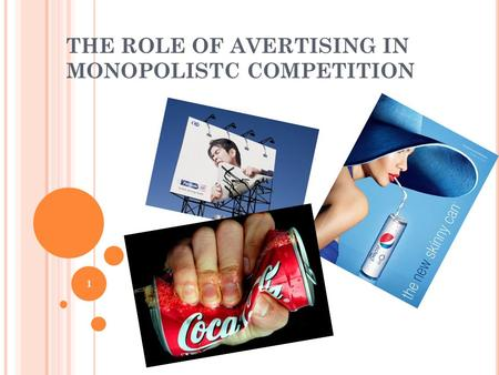 THE ROLE OF AVERTISING IN MONOPOLISTC COMPETITION 1.