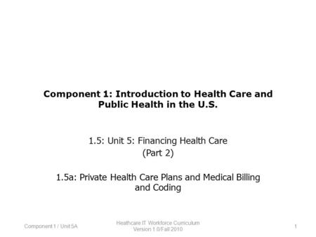 Component 1: Introduction to Health Care and Public Health in the U.S. 1.5: Unit 5: Financing Health Care (Part 2) 1.5a: Private Health Care Plans and.