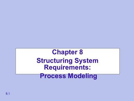 Chapter 8 Structuring System Requirements: Process Modeling 8.1.