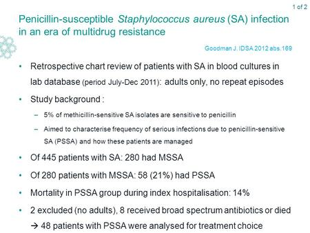 Penicillin-susceptible Staphylococcus aureus (SA) infection in an era of multidrug resistance Retrospective chart review of patients with SA in blood cultures.