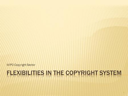 WIPO Copyright Sector 1.  Fundamental or constitutional rights or public interest: freedom of speech, access to information, right for education, enjoyment.