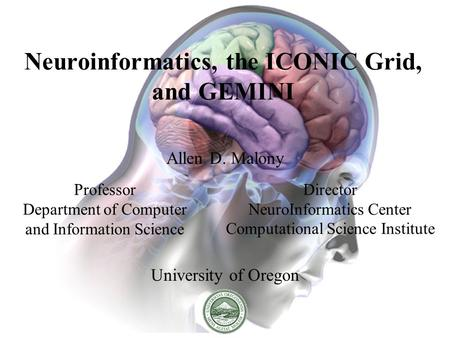 Neuroinformatics, the ICONIC Grid, and GEMINI Allen D. Malony University of Oregon Professor Department of Computer and Information Science Director NeuroInformatics.