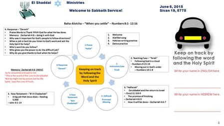 El Shaddai Ministries June 6, 2015 Welcome to Sabbath Service! Sivan 19, 5775 Write your name in ENGLISH here. ____________________________ Write your.