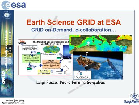 Earth Science GRID at ESA GRID on-Demand, e-collaboration… Luigi Fusco, Pedro Pereira Gonçalves.