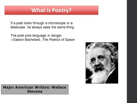 What is Poetry? If a poet looks through a microscope or a telescope, he always sees the same thing. The poet puts language in danger. --Gaston Bachelard,