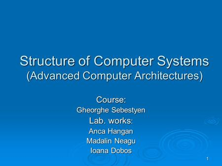 1 Structure of <strong>Computer</strong> Systems (Advanced <strong>Computer</strong> Architectures) Course: Gheorghe Sebestyen Lab. works : Anca Hangan Madalin Neagu Ioana Dobos.