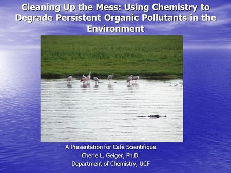 Cleaning Up the Mess: Using Chemistry to Degrade Persistent Organic Pollutants in the Environment A Presentation for Café Scientifique Cherie L. Geiger,