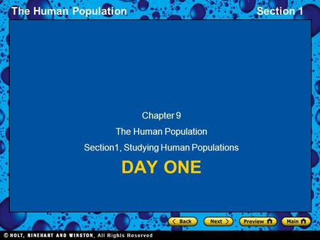 The Human PopulationSection 1 DAY ONE Chapter 9 The Human Population Section1, Studying Human Populations.