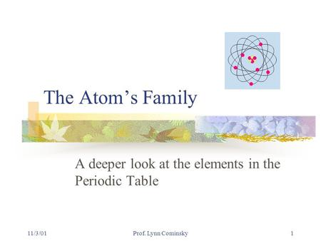 11/3/01Prof. Lynn Cominsky1 The Atom's Family A deeper look at the elements in the Periodic Table.
