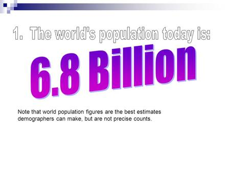 1. The world's population today is: