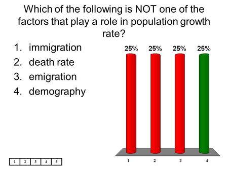 Which of the following is NOT one of the factors that play a role in population growth rate? immigration death rate emigration demography 1 2 3 4 5.