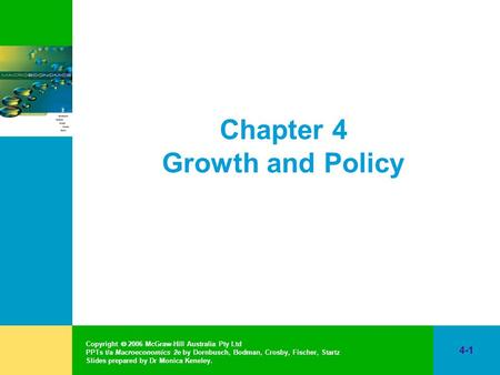 Copyright  2006 McGraw-Hill Australia Pty Ltd PPTs t/a Macroeconomics 2e by Dornbusch, Bodman, Crosby, Fischer, Startz Slides prepared by Dr Monica Keneley.