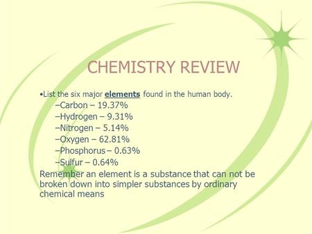 CHEMISTRY REVIEW List the six major elements found in the human body.