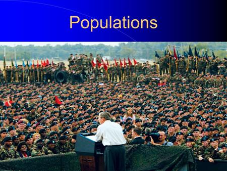 Populations Population- A group of organisms of the same species that live in a particular area. Three important characteristics of a population are.